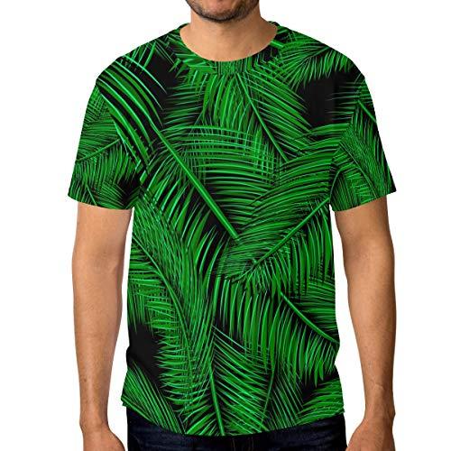 Camisetas para hombre tropicales verde palma rama y hojas personalizadas verano casual camisetas Multicolor multicolor M
