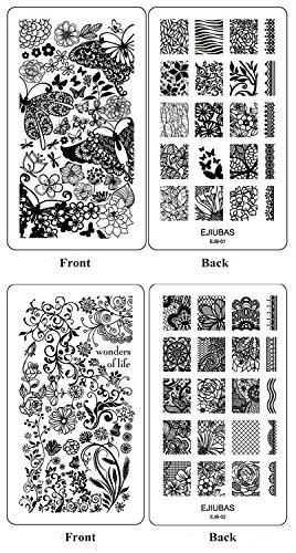 Ejiubas Double-Sided Flower Nail Stamping Plates Nail Art Stamping Kits Image Plates for Nails EJB-01&02