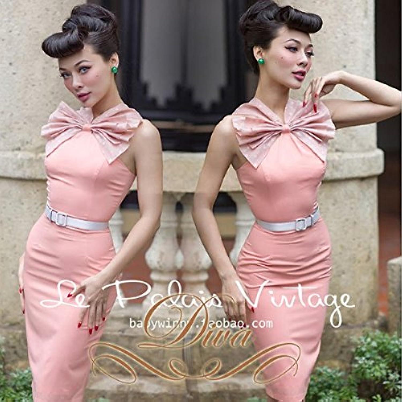 パーティードレス リボン ドット柄 胸元 ホルターネック アメスリ ワンピース ピンク ミディアムドレス