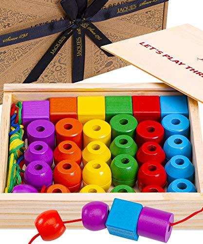 Jaques von London Perlen einfädeln motorikspielzeug ab 1 Jahr– Montessori Spielzeug 2 3 4 Jahre Seit 1795