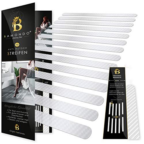 BAMONDO Anti-Rutsch Streifen für Badewanne und Dusche Sticker selbstklebend transparent Antirutsch Pads Badewanne Anti Rutsch Aufkleber Dusche Antirusch Pads für 100% Rutsch-Schutz (10 Stück)