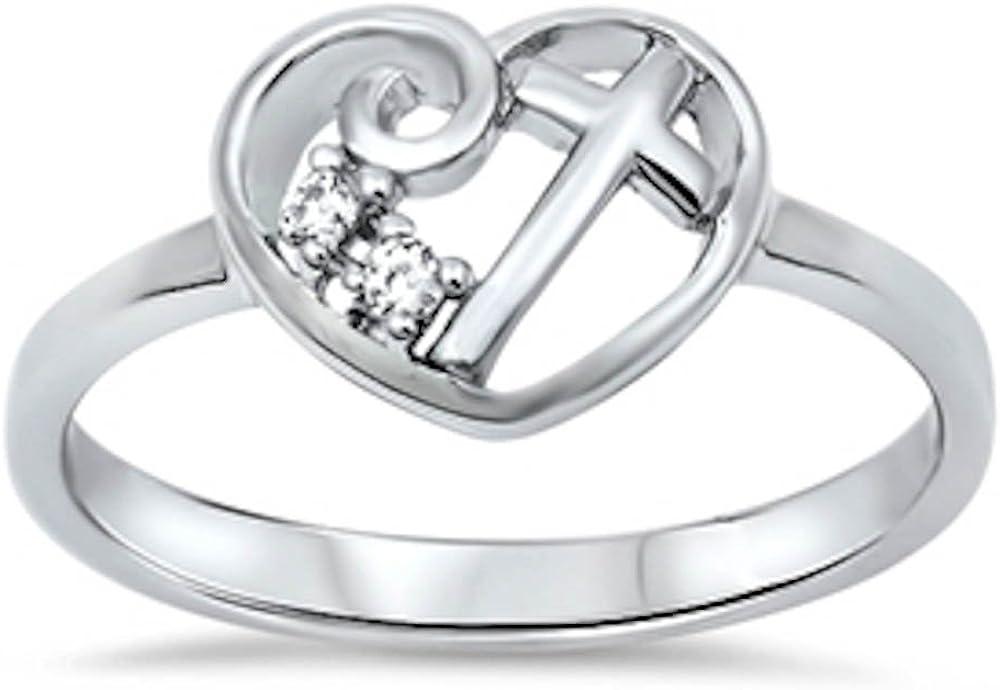 Oxford Diamond Co Heart Cubic Zirconia Luxury Sale St Purity Cross .925 Girl