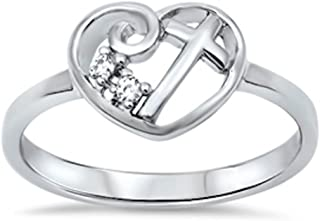 Oxford Diamond Co Heart Cubic Zirconia Cross Girl Purity .925 Sterling Silver Ring Size 4-13