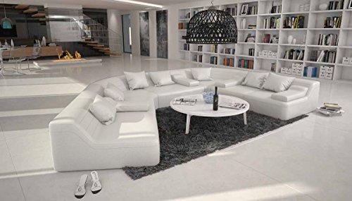 SalesFever Rund-Sofa mit Bezug aus weißem Kunstleder 410x272 cm halbrund | Catoca | Designer Wohnlandschaft im XXL Format Recamiere Links | Couch-Garnitur für Wohnzimmer Weiss 410cm x 272cm