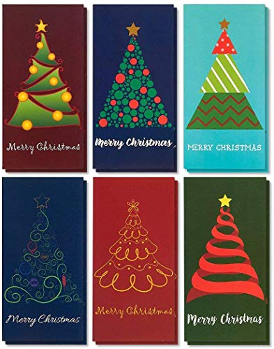 Xmas Cards - 36-Pack Merry Holiday Greeting - Xmas Money and Gift Card Holder Cards in 6 Christmas Tree Designs Bulk Assorted Winter Holiday Cards Box Set with Envelopes Included 36 x 725 Inches