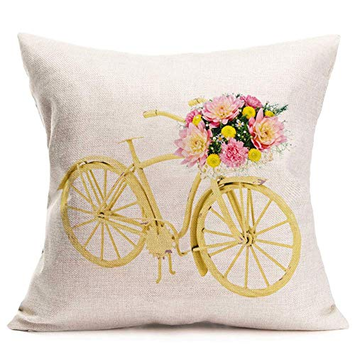 WXM Retro Yellow Bicycle with Flower Pillow Covers Decorative Throw Pillow Cases Cotton Linen Outdoor Indoor Square Cushion Covers for Home Sofa Couch 18x18 Inch