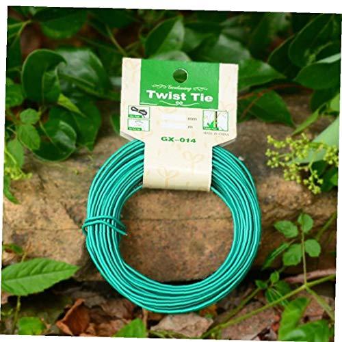 Hotaden Giro 15m Planta Jardín Lazo de Alambre Recubierto Verde para el Apoyo de la Correa de Formación Jardín Bonsai Cable del Enchufe
