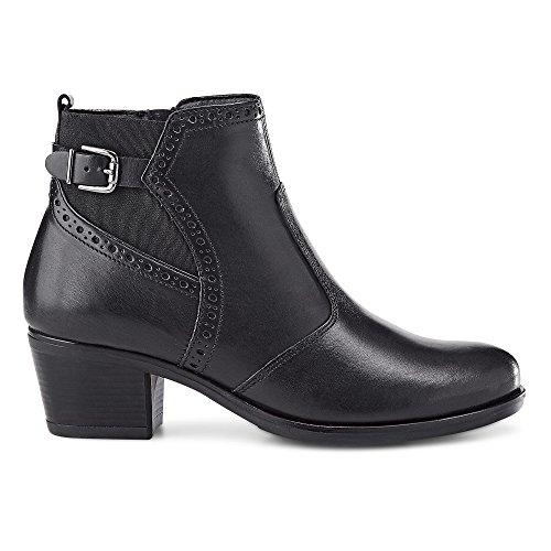 DRIEVHOLT Damen Trend-Stiefeletten, Halbschaft-Boots aus Leder in Schwarz mit Block-Absatz Schwarz Glattleder 41