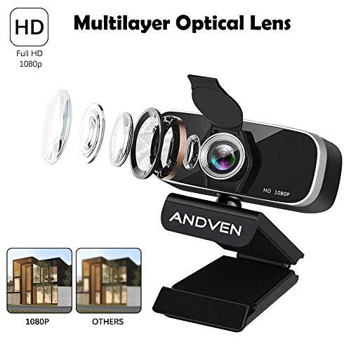 Andven Cámara Web de Video Full 1080P HD Webcam con cámara Web giratoria de 360 Grados, micrófonos incorporados con cancelación de Ruido, USB Plug-and-Drive sin conexión para conferencias, Video Chat miniatura