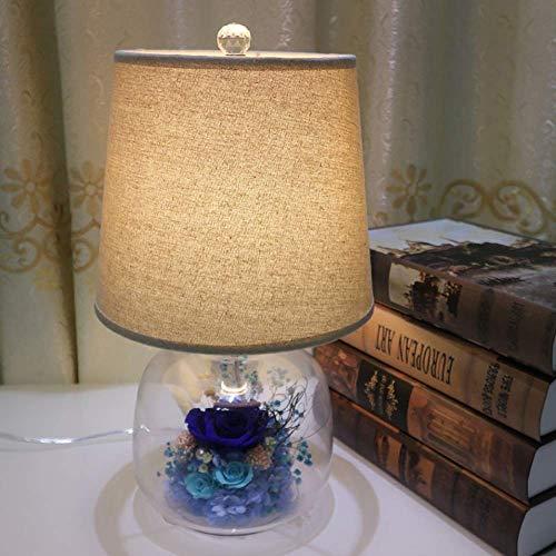 LATOO Lámpara de escritorio creativa de tres años de período de visualización de flores secas rosas flores eternas hechas a mano rosa/púrpura/rojo/azul lámpara de mesa de cabecera (color: azul)