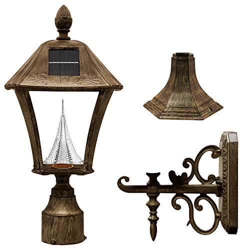 Gama Sonic GS-106FPW-WB Baytown Lamp Outdoor Solar Light, Pole Pier & Wall Mount Kits, Weathered Bronze