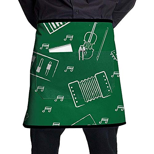 Piano Balalaika Violine Bogen Unisex Western Restaurant Küche Kurze Schürzen Ärmellose Overalls Tragbar mit Tasche zum Kochen, Backen, Basteln, Gärtnern, Grillen