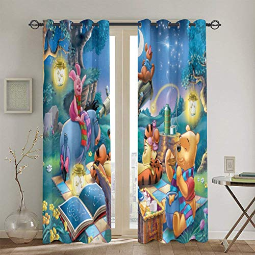 Meroy Fowler Anime Winnie The Pooh Blackout Curtain Set-for Decoration Living Dining Bedroom Top Insulation Compartment Bedroom Living Room Children's Room 3D Printing-52in W X 72in L(1Pair)