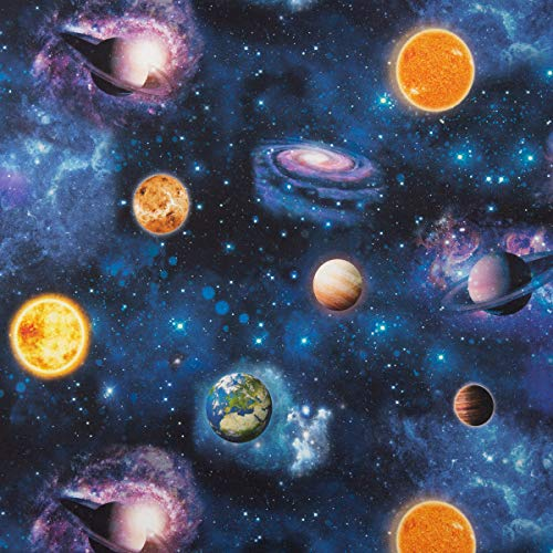SCHÖNER LEBEN. Dekostoff Halbpanama Digitaldruck Weltall Weltraum Planeten Erde blau bunt 1,40m Breite