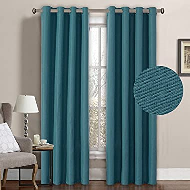H.VERSAILTEX Primitive Linen Look Room Darkening Thermal Insulated Living room Curtains/Drapes,Antique Grommet Window Drapes,52 by 84 Inch-Aegean Blue (1 Panel)