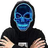 LED Halloween Mask Scary Craneo Esqueleto Mascaras,MáScara Disfraz Luminosa,para La Fiesta De Disfraces Cosplay para Mujeres Hombres Adultos NiñOs