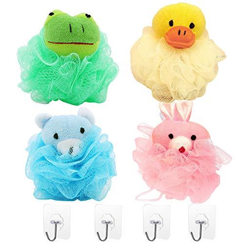 4 esponjas de ducha para niños con diseño de animales, con 4 ganchos sin costuras