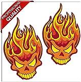 SkinoEu® 2 x Vinyl Self-Adhesive Stickers Funny Flame Skull Laptop iPad Car Window Auto Moto...