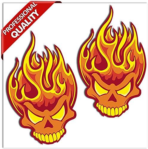SkinoEu® 2 Stück Vinyl Aufkleber Autoaufkleber Skull Schädel Totenkopf Flammen Feuer Horror Stickers Auto Moto Motorrad Fahrrad Helm Fenster Tür Tuning B 114