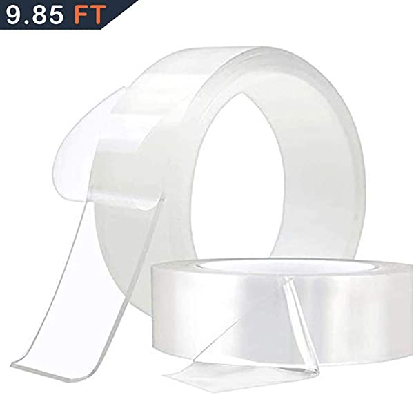 Nano Magic Tape Double Sided Transparent Tape For Fixing Floor Mats Phone Picture Pen Reusable Clear Gel Anti Slip Traceless Washable Adhesive 9 85 Ft 3 Meter