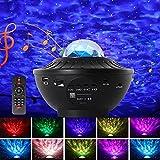 LED Proyector Estrellas, Proyector de Luz Estelar,LED de Luz Nocturna Giratorio,Proyector LED Color Reproductor de Música,con 21 Modos & Control Remoto/Temporizador/Altavoz/Bluetooth
