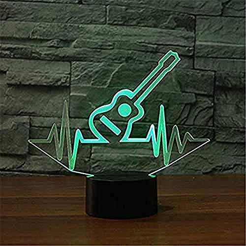 Suwhao sjablonen gitaar modelleer 3D nachtlampje 7 kleuren veranderende LED tafellamp kinderen geschenken muziekinstrument decoratie slaaplamp