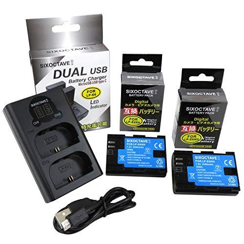 str LP-E6N LP-E6 LP-E6NH 互換バッテリー 2個[最新ICチップ搭載 EOS R5/R6の連続撮影対応] & デュアル USB 急速互換充電器 カメラ バッテリー チャージャー LC-E6N LC-E6 [バッテリー2個まで同時充電可能 純正 互換電池共に対応 ] 3点セット キヤノン イオス EOS 70D EOS 7D MarkII EOS 6D EOS 6D Mark II EOS 5D MarkII EOS 60D EOS 7D EOS 5D Mark III EOS 5D Mark IV EOS 60Da EOS 70D EOS 5Ds EOS 5Ds R EOS 80D EOS R XC15 EOS 90D BG-E6 BG-E7 BG-E9 BG-E11 BG-E13 BG-E14 BG-E16 BG-E20 BG-E21 BG-E22 EOS Ra EOS R5 EOS R6 BG-R10