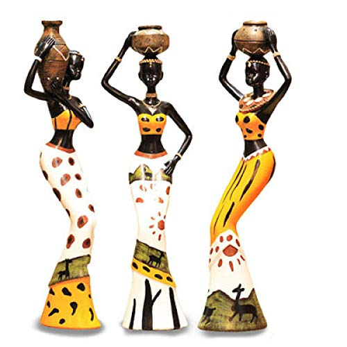 yueyue947 3 Unids/Set Mujer Africana Escultura Chica Resina Seora Estatuilla Estatua Coleccin Decoracin Hogar Arte Artesana Regalo/Amarillo
