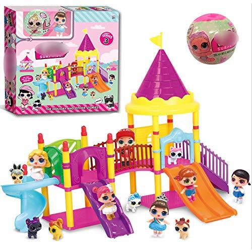 Qiyun Regalo per Bambini,Idee Regalo per Capodanno/Natale/Pasqua/Ognissanti,Doll Park House Gioco Exquisite Fun Big Slide Playset Gift Toy per LOL Surprise Doll Toys Type 1