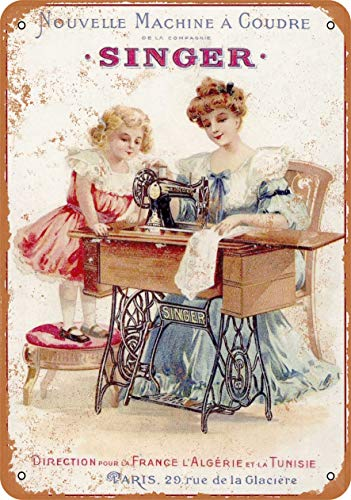 Best Review Of 3 Pcs 8 x 12 Metal Sign - 1889 French Singer Sewing Machines - Vintage Look