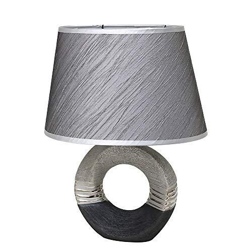 Dekohelden24 Elegante lámpara de mesa / lámpara de salón / lámpara de noche en color gris plateado aprox. 20 x 26,5 x 37 cm.