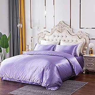 Tofern Satin Duvet Cover Sets 2 Pieces Silky Soft Breathable Luxury Comforter Cover with Zipper Closure Corner Ties Envelo...