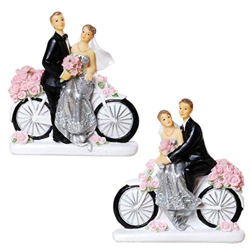 Schmidt 1 Silberhochzeitspaar auf Fahrrad, Sortiert, Polystone, ca. 11x10
