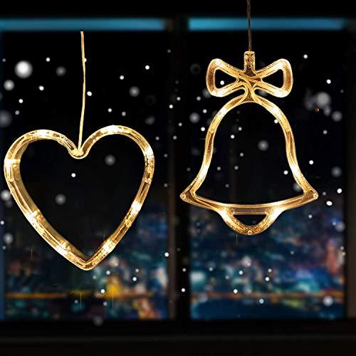 2pcs Saugnapf Lichterkette,Saugnapf Lichterkette Fenster, Sauger Lichterkette,Saugnapf Lichterkette Weihnachten,Led Saugnapf Weihnachten,Saugnapf Led Deko (Herz & Glocke)
