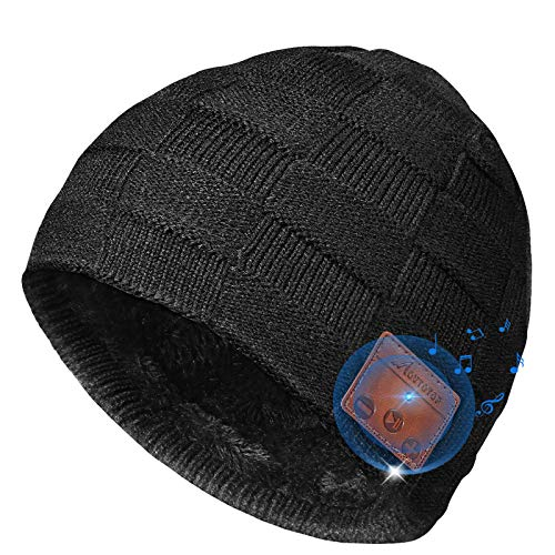 MOVTOTOP Bluetooth Beanie, Upgraded V5.0 Bluetooth Headphones Hat Built-in Microphone Black