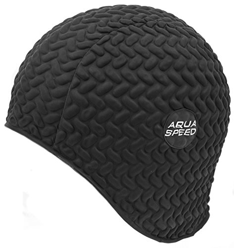 Aqua Speed Badekappe Lange Haare | Women Swimming Cap for Long Hair | Schwarze Bademütze wasserdicht | Schwimmkappe Latex | Badehaube Schwimmen | Schwimmmütze | Schwarz | Bombastic Tic-Tac