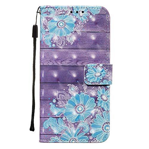 SEYCPHE Coque Samsung Galaxy A71,Housse Mignon Étui avec Fonction de Support Etui Protecteur Protection Portefeuille Cas Magnétique PU Cuir pour Samsung Galaxy A71, Fleur Bleue