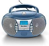 Karcher RR 5025-C - Radio portátil con CD (Reproductor de CD, Boombox, Radio FM, batería y Red, Entrada Auxiliar), Color Azul