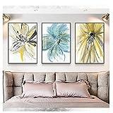 Cuadro de arte de pared Pintura de flores de acuarela moderna Carteles e impresiones Pintura de lienzo abstracta Cuadros de flores para decoración del hogar 30x40cm * 3Pcs NoFrame