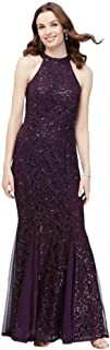 High-Neck Tie Sequin Lace Mermaid Mother of Bride/Groom Gown with Godets Style 263209