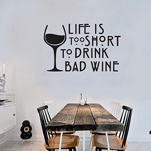ZJfong 68x42cm Wijn Muursticker Leven is te kort om te drinken Slechte Wijn Vinyl Muurstickers Keuken Raam Decor Interieur Kunst
