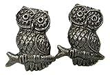 Pair of 2 Rustic Vintage-Style Dark Silver Cast Metal Owl Knobs Pulls Kitchen Drawer Dresser Cupboard