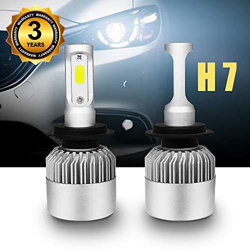 Bombilla H7 LED Coche, Faros Delanteros Bombillas de Coches 8000LM 6000K, Reemplazo de la Luz Halógena, Impermeable Reemplazar LED Lámparas, 12v-24v, Blanco Frio