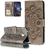 LEMAXELERS Nokia 5.3 Hülle,Für Nokia 5.3 Handyhülle Prägung Mandala-Blume Flip Case PU Leder Cover Magnet Schutzhülle Tasche Ständer Handytasche für Nokia 5.3,LD Mandala Gray
