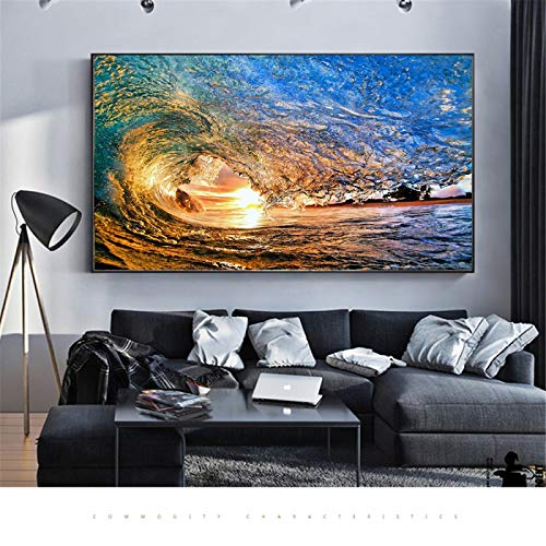 XIANGPEIFBH Surfing Ocean Sea Waves Colorful Sun Sport Surfer Poster Wall Art Picture Canvas Printed Paintings for Home Decoration 50x90cm Unframed