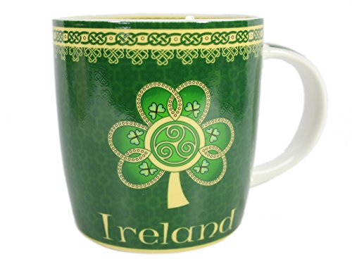 Royal Tara Keramikbecher mit Grünem Shamrock Kleeblatt und Keltischem Design