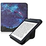kwmobile Funda Compatible con Kobo Libra H2O - Carcasa magnética de Origami para e-Book - Noche romántica Azul/Rosa Fucsia/Negro