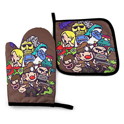 Pfbscu Spelunky Guy &Amp; Co. Oven Mitts and Pot Holders Set, Heat Resistant Kitchen Bake Gloves...