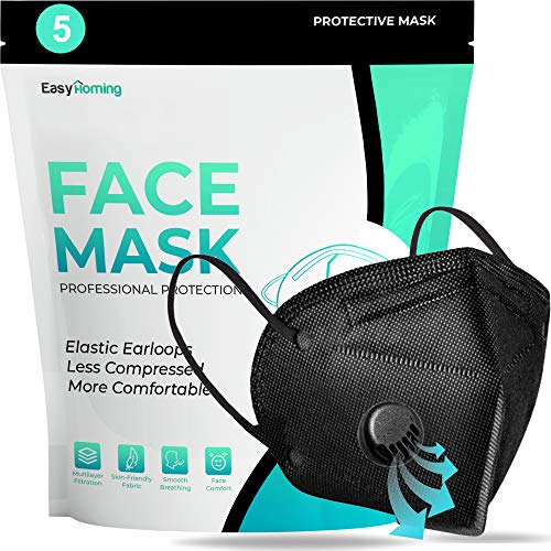 Face Mask With Valve - 5pcs Black Face Mask - 6 Layers - Disposable Face Mouth Covers Non-Woven Breathable Face Masks Respirator