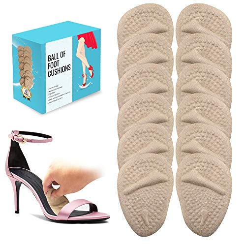 6 Pairs Ball of Foot Cushions (Beige) | Metatarsal Pads for Women | Reusable Shoe Inserts for Pain Relief
